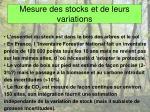 mesure des stocks et de leurs variations