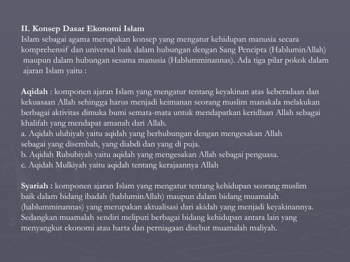II. Konsep Dasar Ekonomi Islam