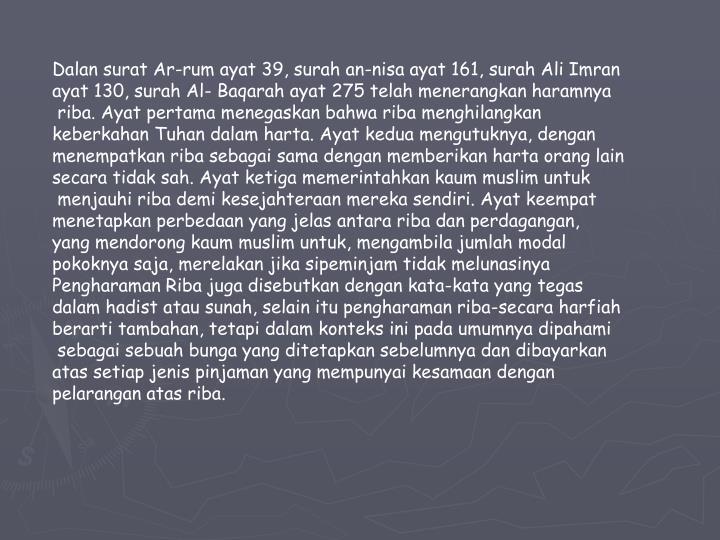 Dalan surat Ar-rum ayat 39, surah an-nisa ayat 161, surah Ali Imran