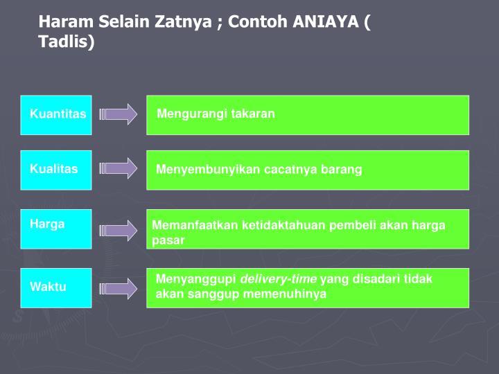 Haram Selain Zatnya ; Contoh ANIAYA ( Tadlis)