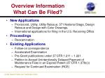 overview information what can be filed