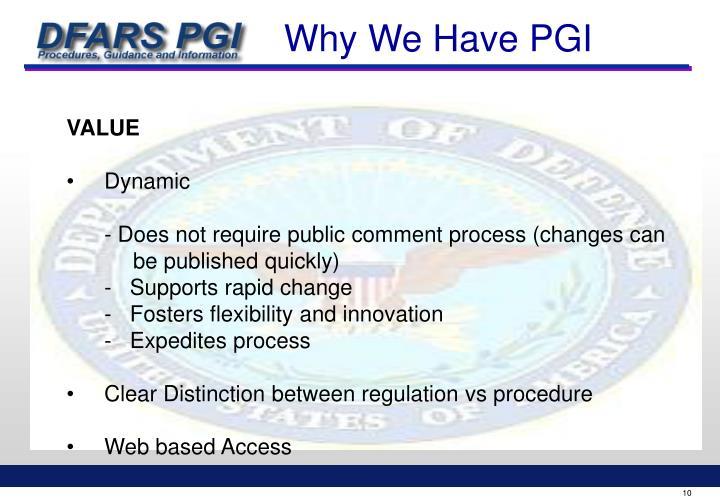 Why We Have PGI