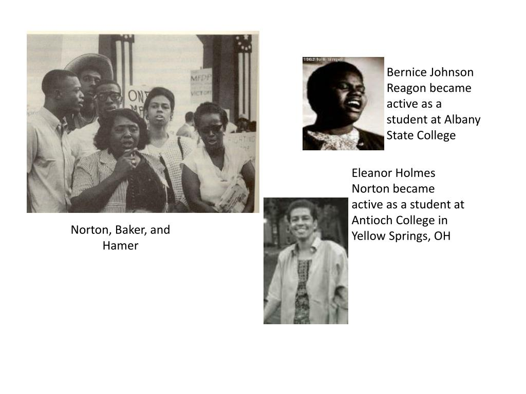Bernice Johnson Reagon became active as a student at Albany State College