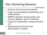 title i monitoring elements
