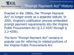 prompt payment act history