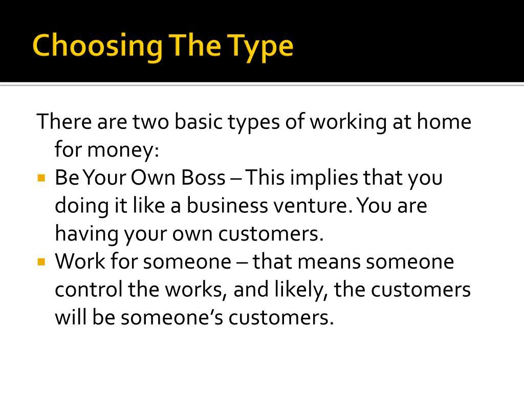 Choosing The Type