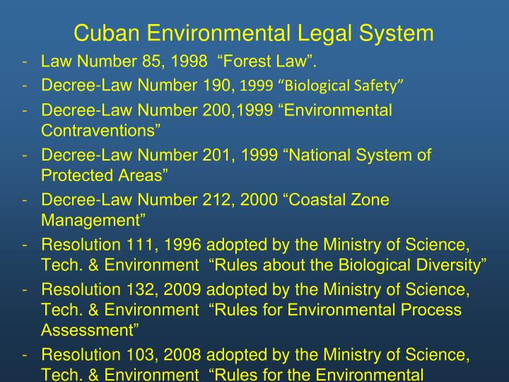 Cuban Environmental Legal System