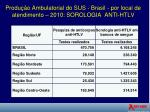 produ o ambulatorial do sus brasil por local de atendimento 2010 sorologia anti htlv