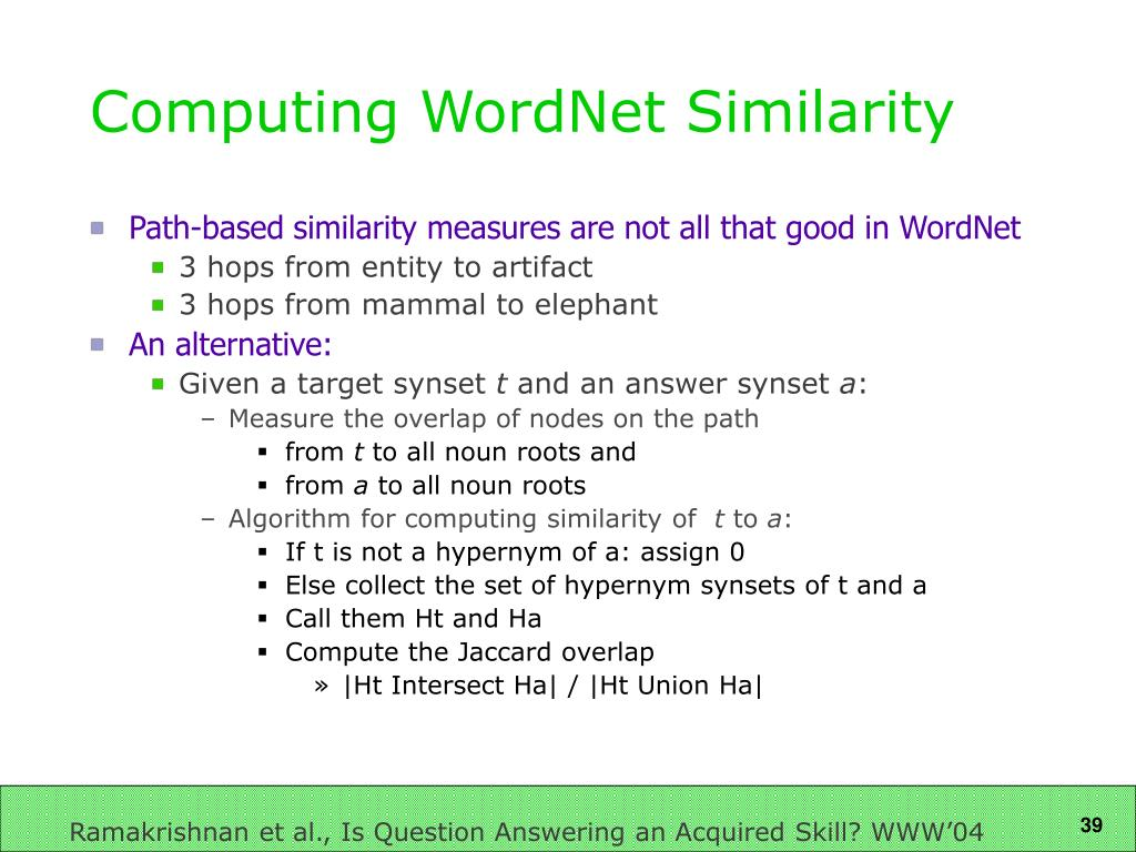 Computing WordNet Similarity