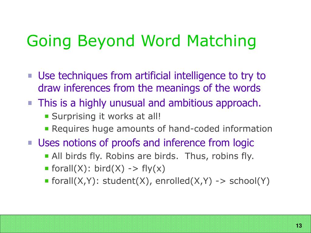 Going Beyond Word Matching