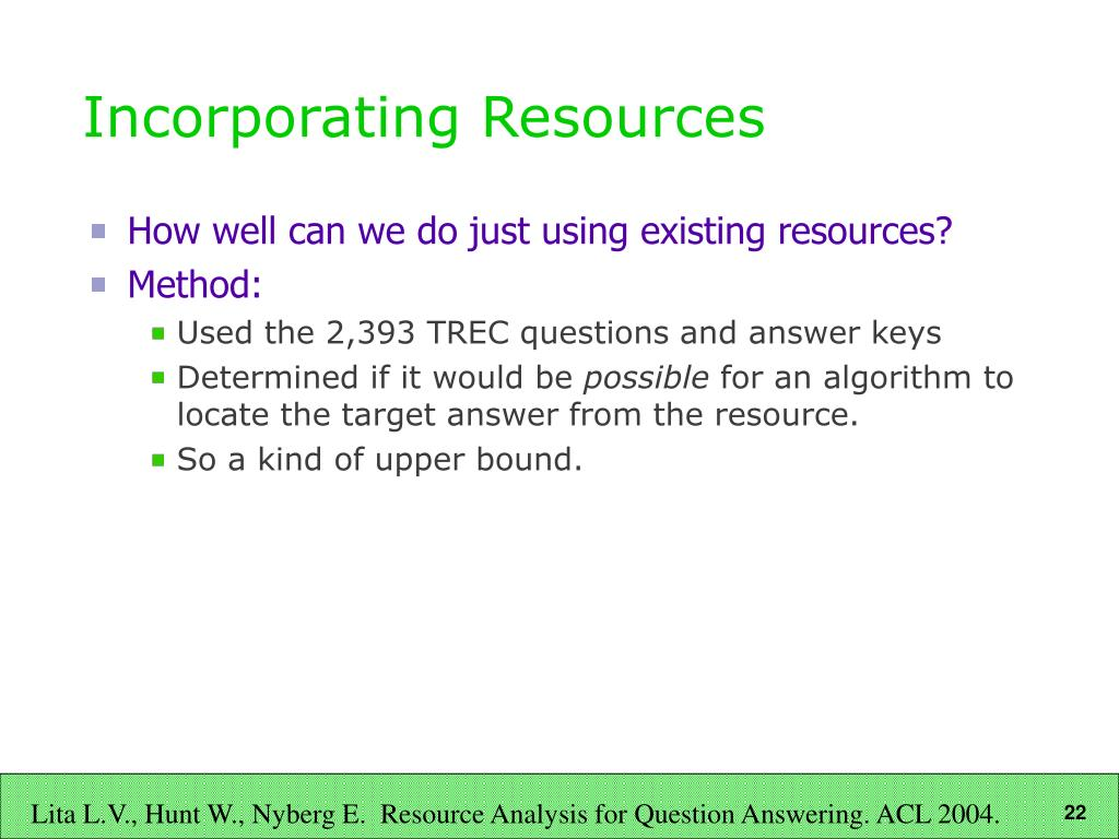 Incorporating Resources