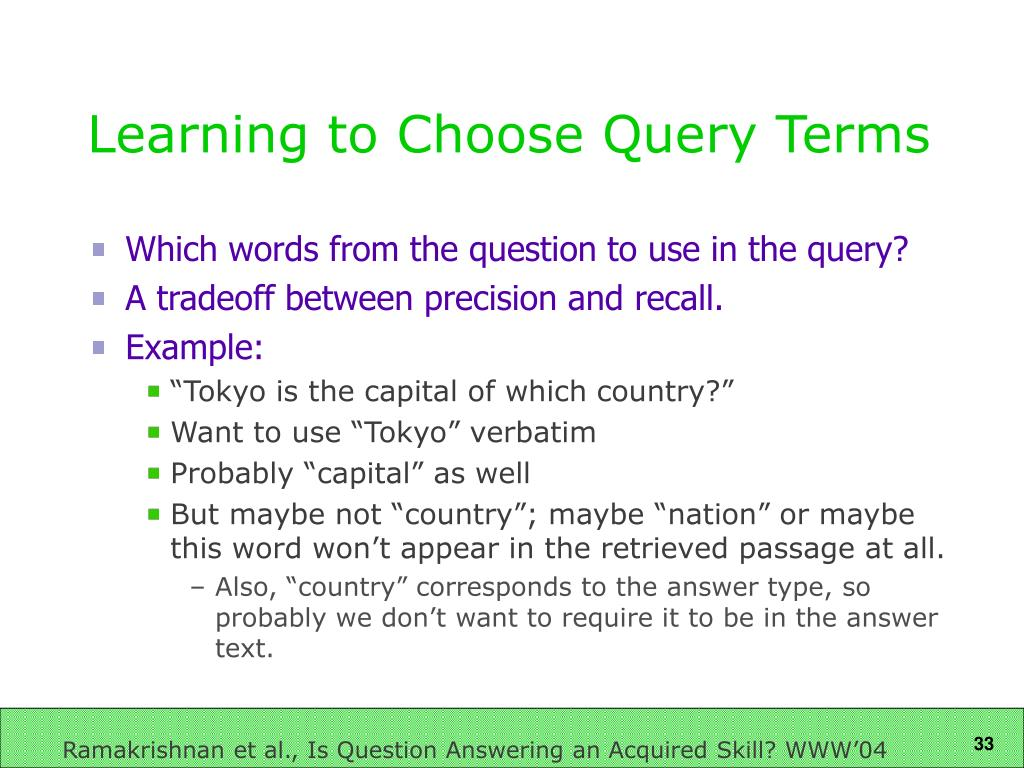 Learning to Choose Query Terms