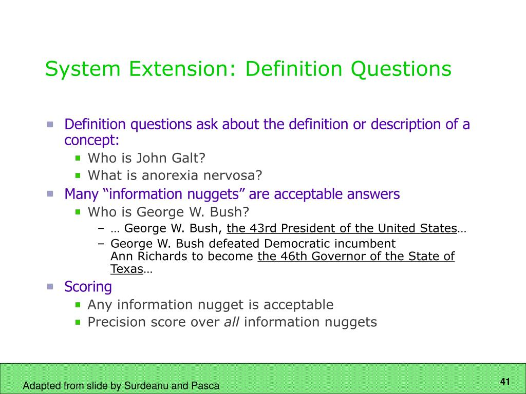 System Extension: Definition Questions