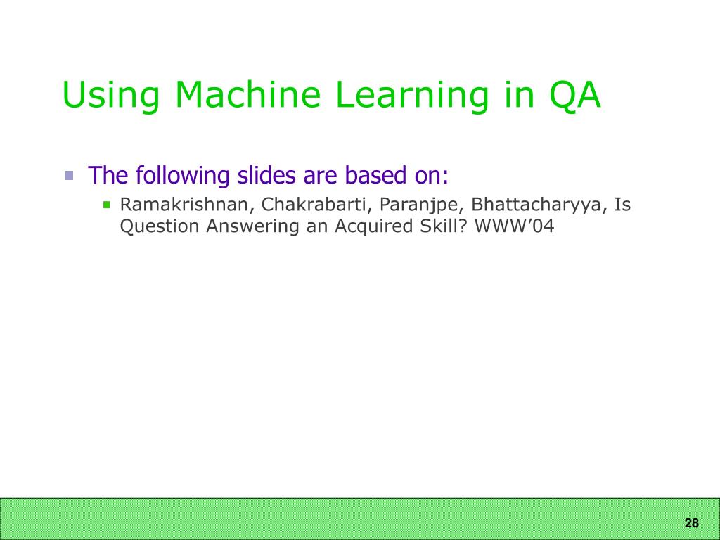 Using Machine Learning in QA