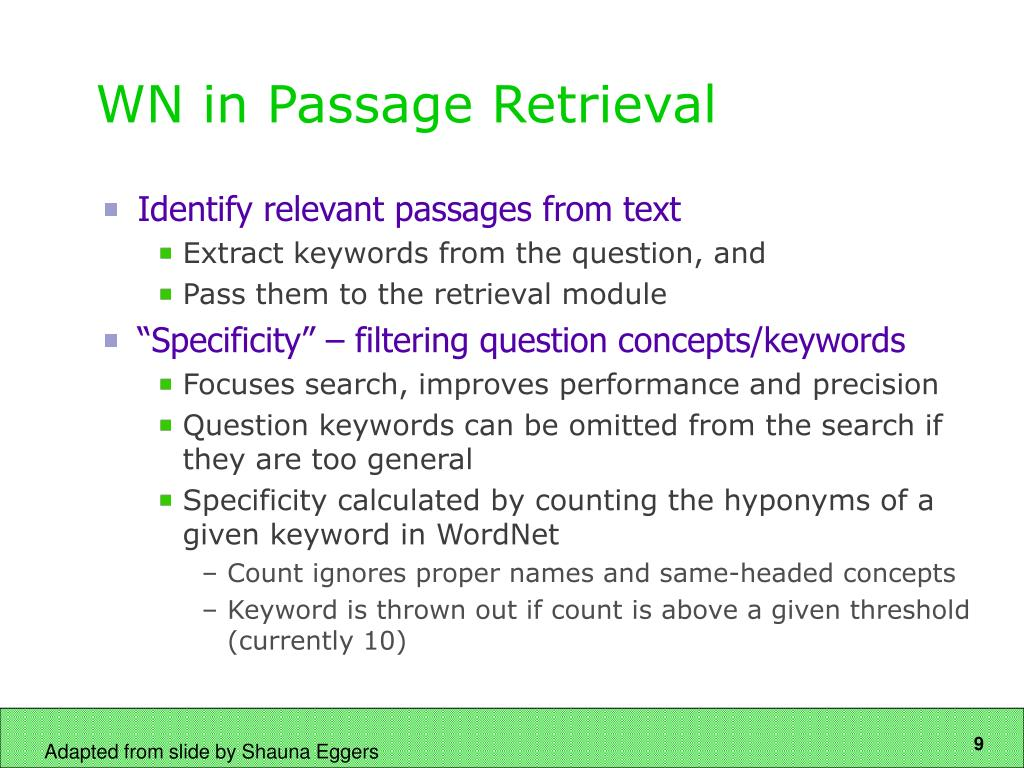 WN in Passage Retrieval