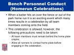 bench personnel conduct homerun celebrations