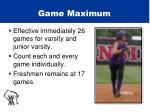 game maximum