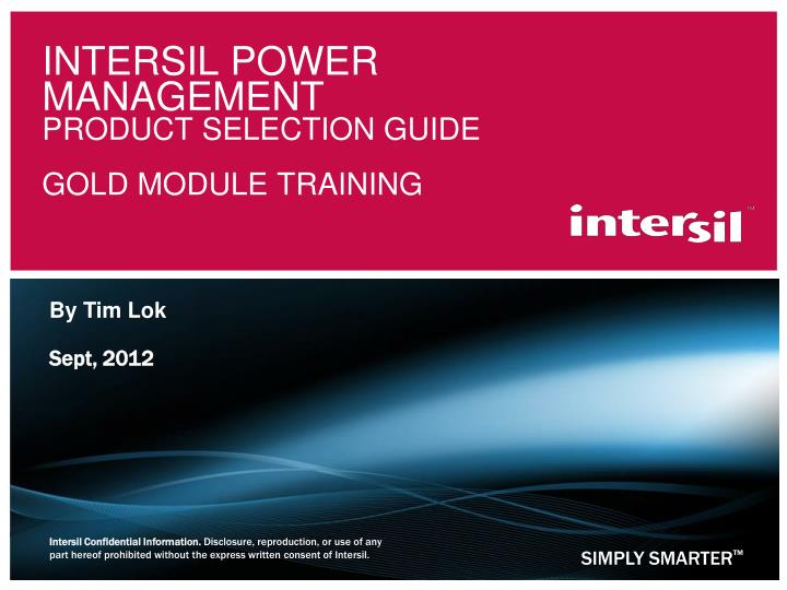 intersil power management product selection guide gold module training n.