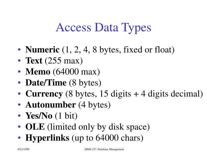 Access Data Types