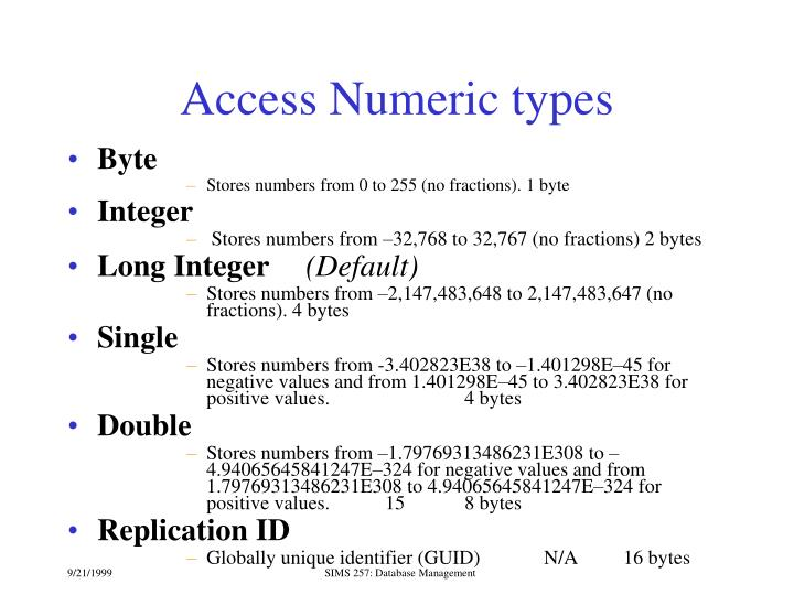 Access Numeric types
