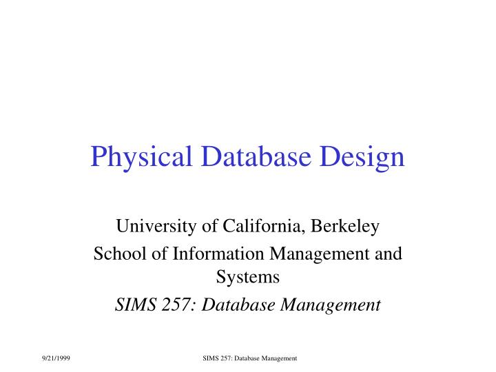physical database design n.