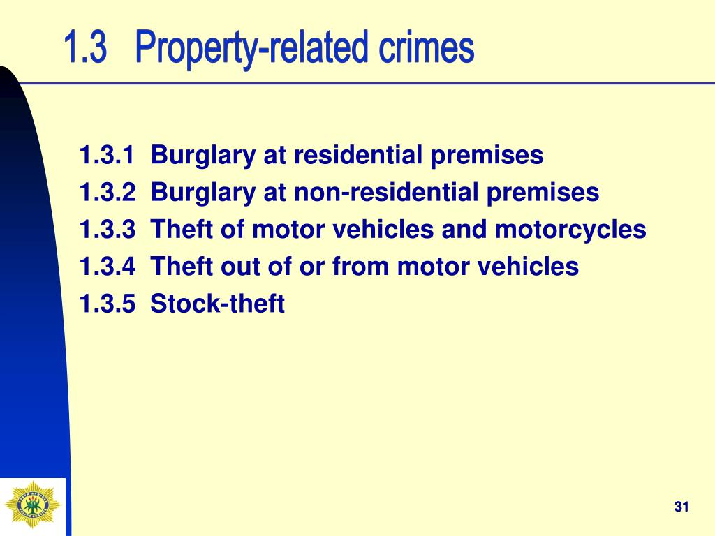 1.3   Property-related crimes