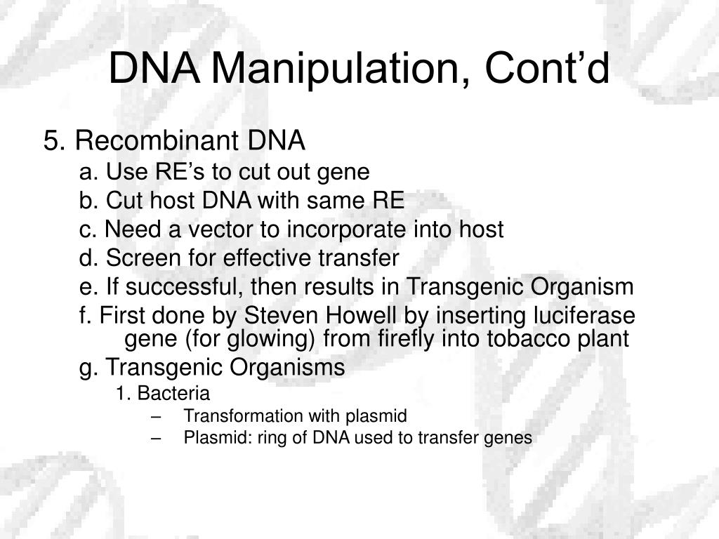 DNA Manipulation, Cont'd