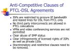 anti competitive clauses of ptcl dsl agreements