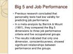big 5 and job performance