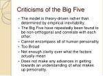 criticisms of the big five