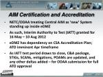 aim certification and accreditation