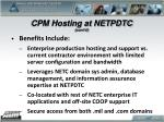 cpm hosting at netpdtc cont d