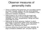 observer measures of personality traits