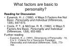 what factors are basic to personality