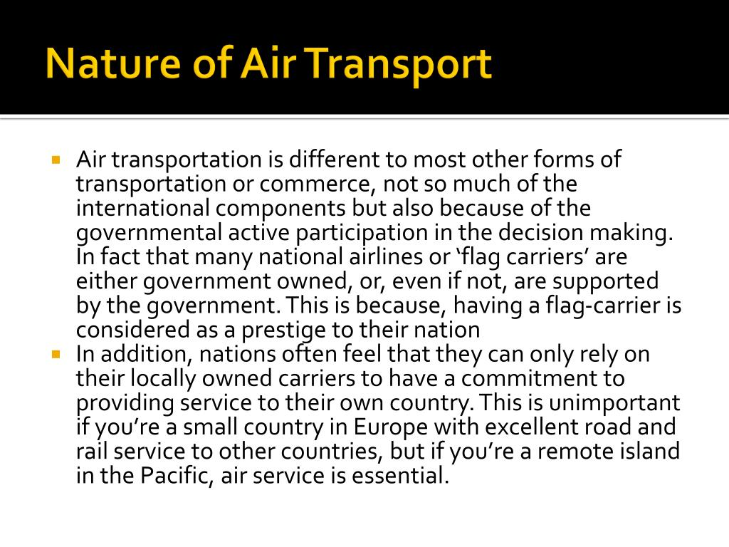 Nature of Air Transport