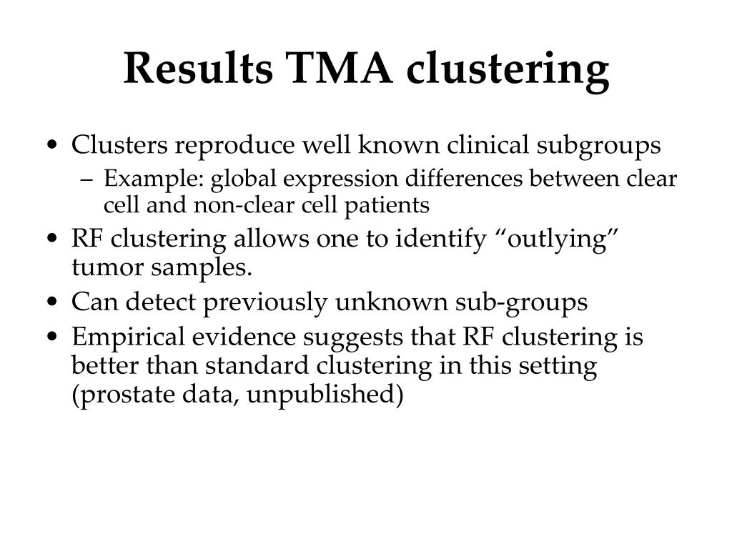 Results TMA clustering
