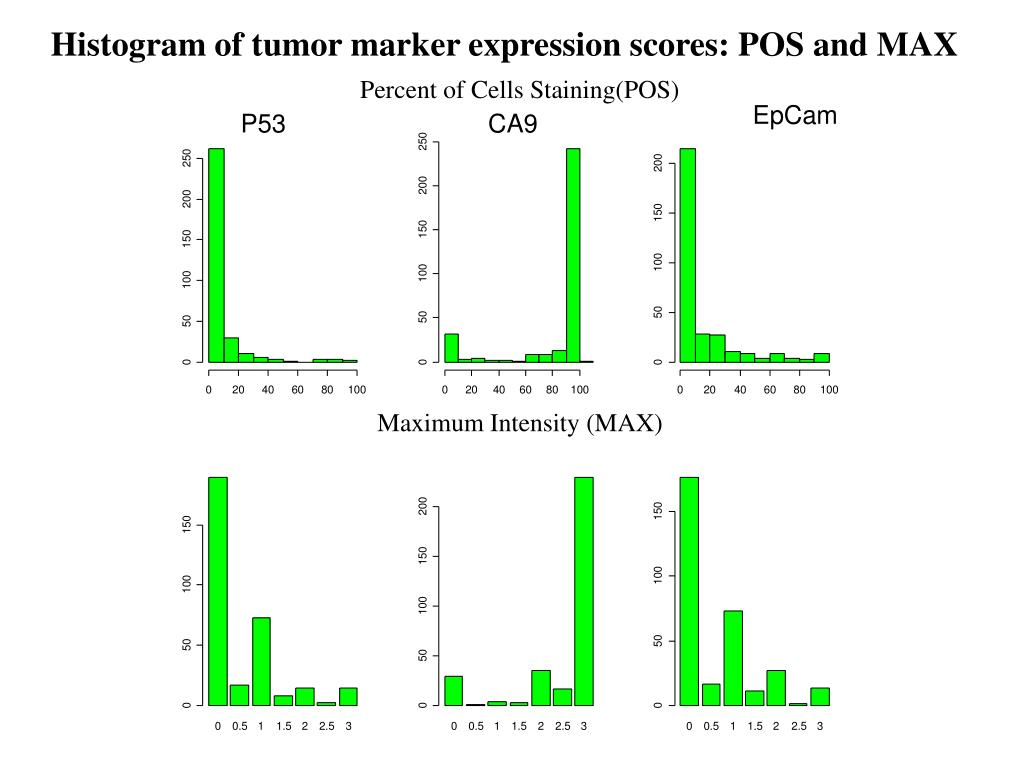 Histogram of tumor marker expression scores: POS and MAX