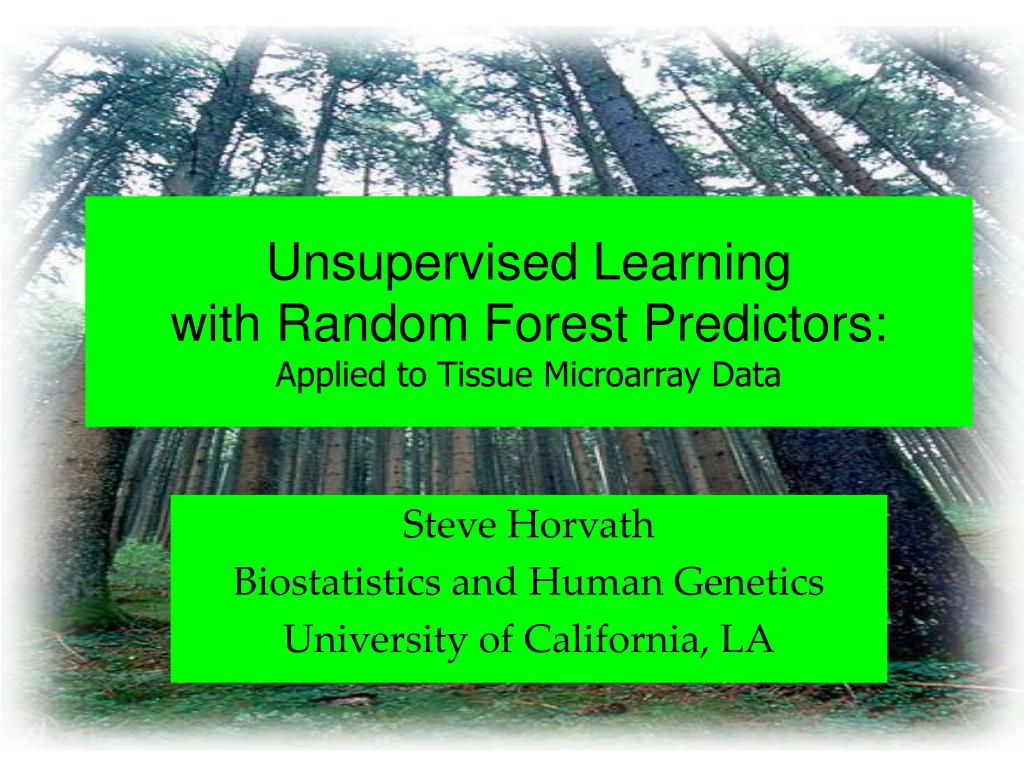 unsupervised learning with random forest predictors applied to tissue microarray data l.