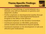 theme specific findings opportunities
