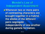 mendel s law of independent assortment