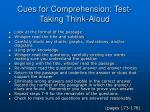 cues for comprehension test taking think aloud