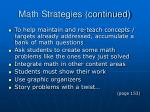 math strategies continued