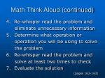 math think aloud continued