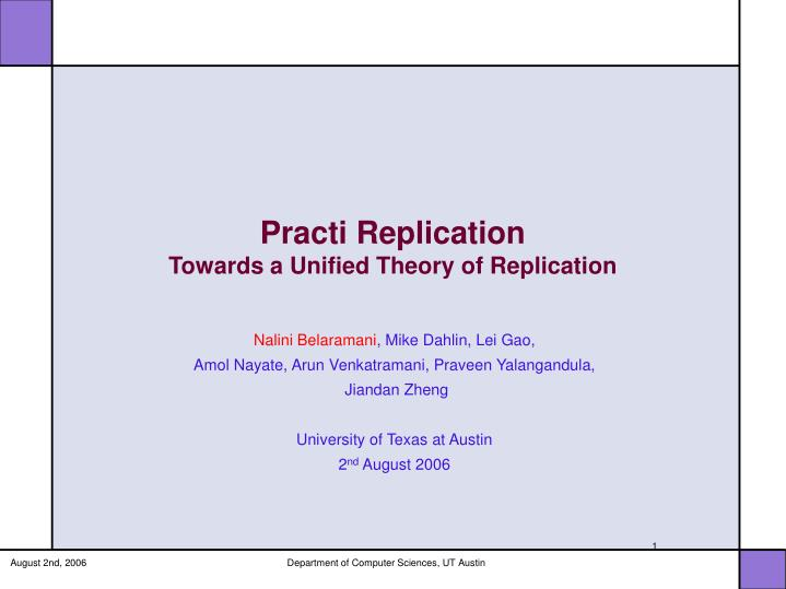 practi replication towards a unified theory of replication n.