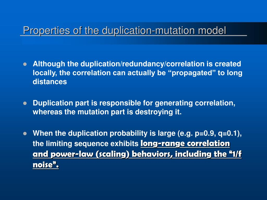 Properties of the duplication-mutation model
