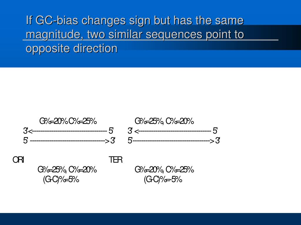 If GC-bias changes sign but has the same magnitude, two similar sequences point to opposite direction