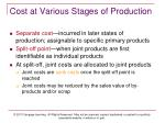 cost at various stages of production