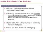 activity rubric review text rendering
