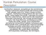 kontrak perkuliahan course description