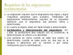requisitos de las asignaciones testamentarias